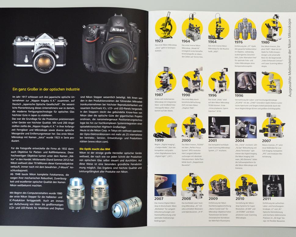 Nikon Broschüre Doppelseite Historie