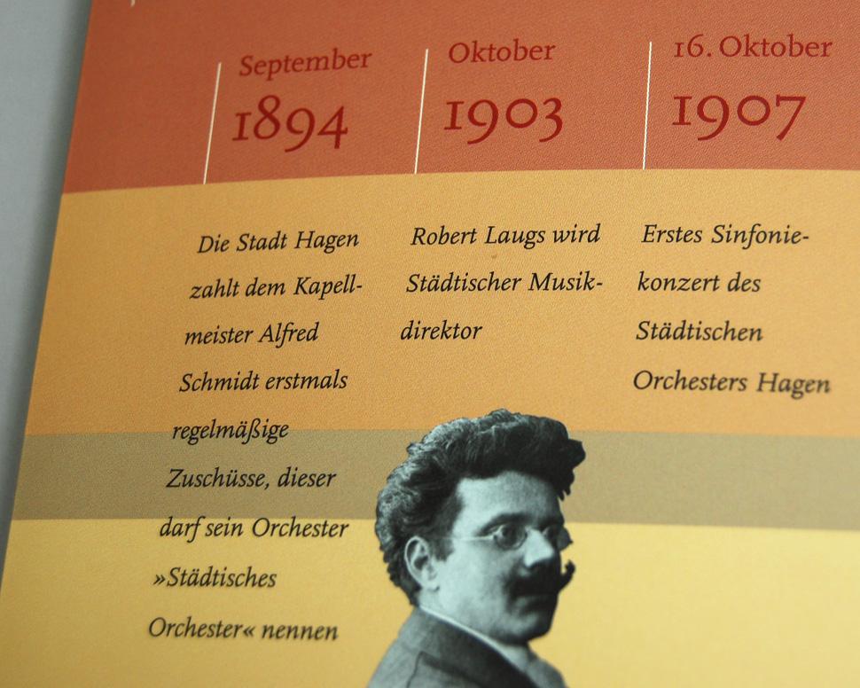Buch 100 Jahre Philharmonisches Orchester Hagen Umschlag mit Zeitleiste Detail