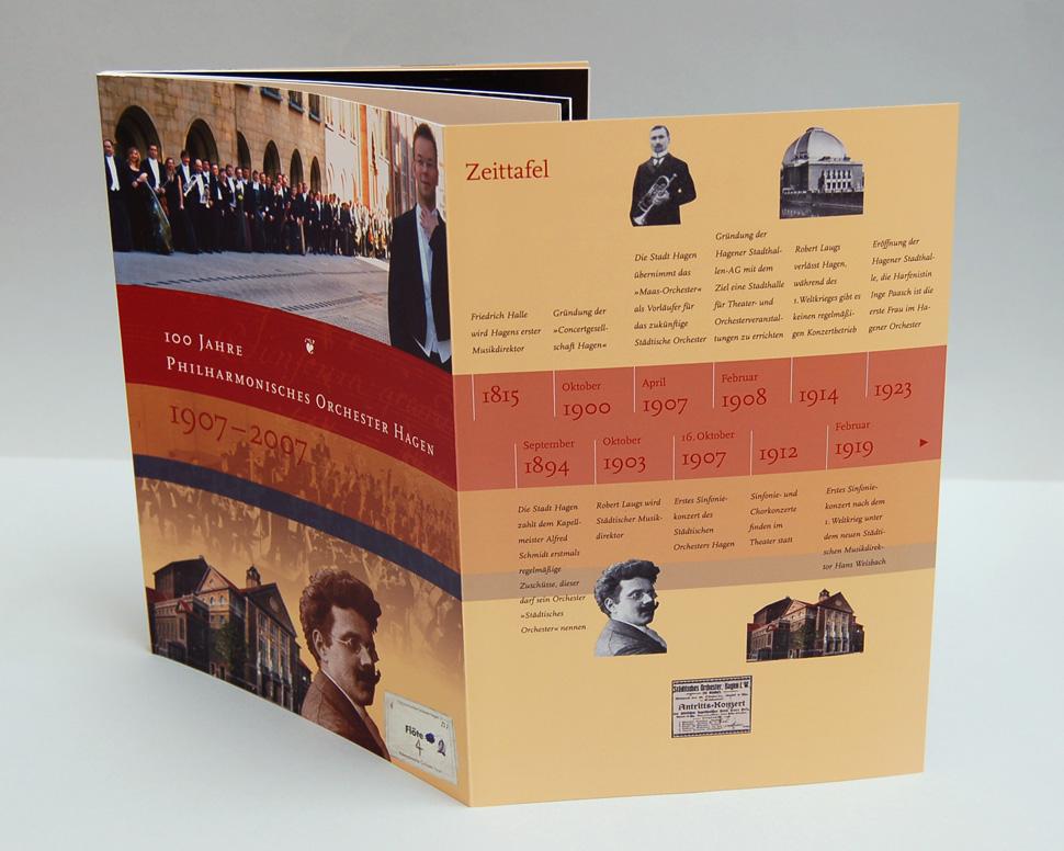 Buch 100 Jahre Philharmonisches Orchester Hagen Titelseite mit aufgeklapptem Umschlag