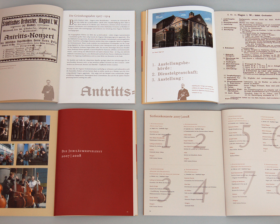 Buch 100 Jahre Philharmonisches Orchester Hagen Doppelseiten