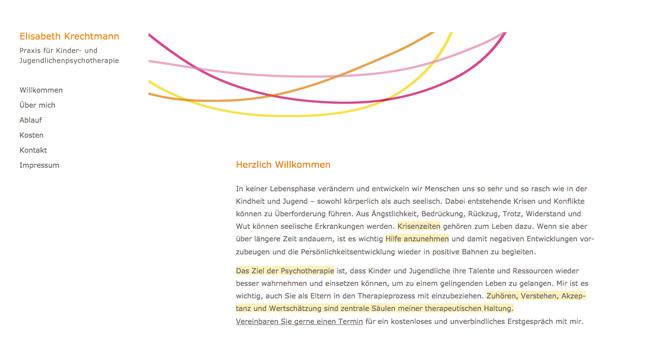 Website für die psychotherapeutische Praxis von Elisabeth Krechtmann Startseite