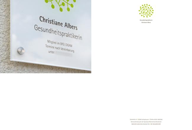 Praxisschild und Briefbogen für die Gesundheitspraktikerin Christiane Albers