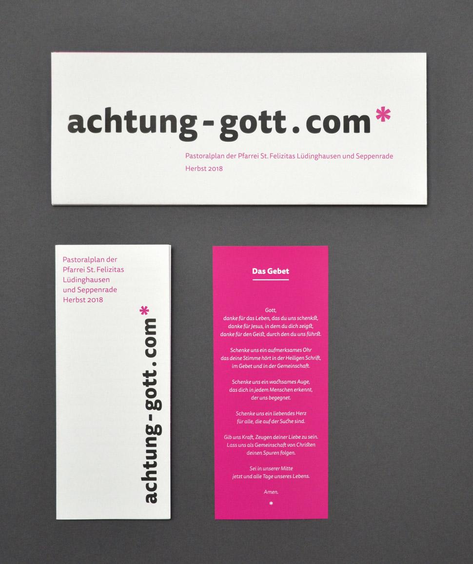 Faltplakat (geschlossen), Faltblatt und Lesezeichen für achtung-gott.com*
