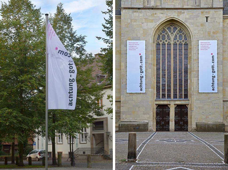 achtung-gott.com* Fahnen vor und am Kirchengebaeude