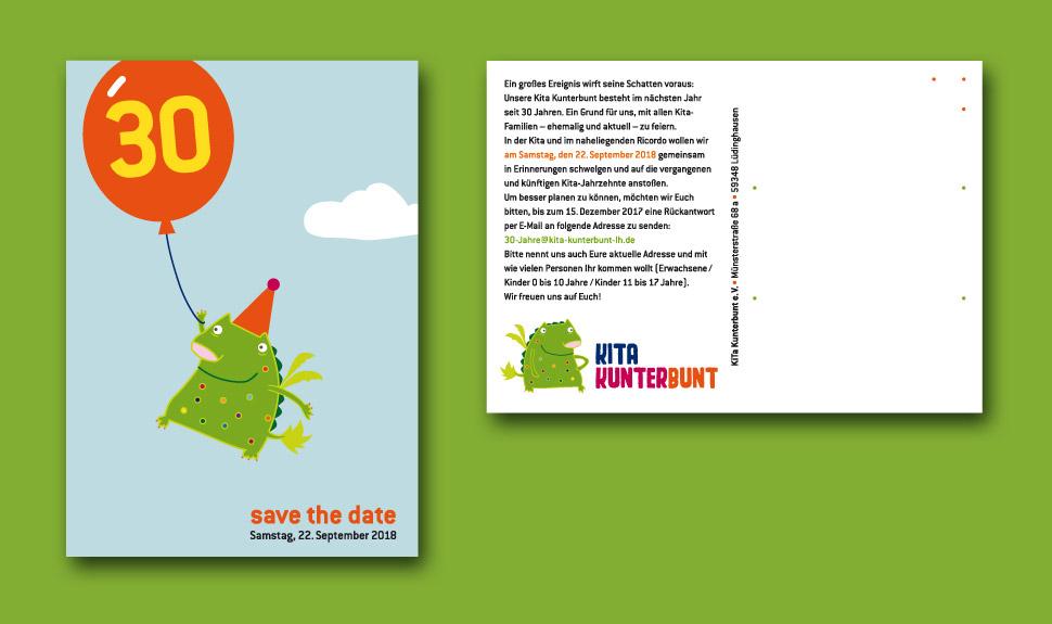 30 Jahre Kita Kunterbunt: Save-The-Date-Karte