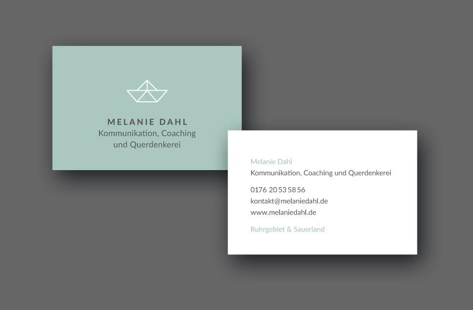 Melanie Dahl Geschäftskarte Vorderseite und Rückseite