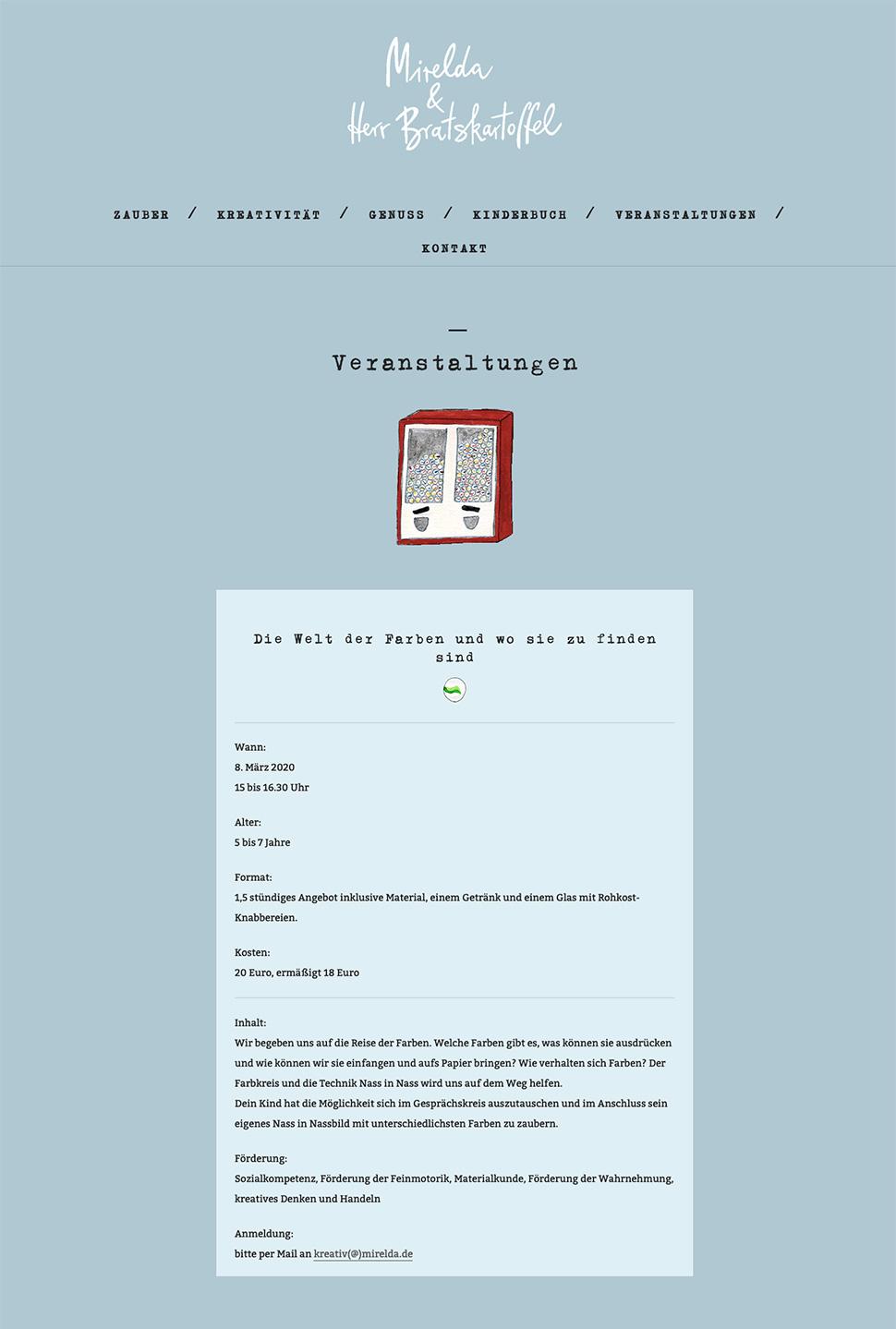 Mirelda Website Beispielseite »Veranstaltungen«